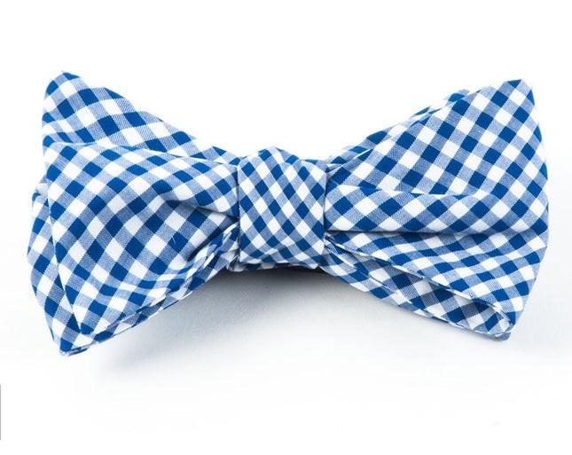 Novel Gingham Royal Blue Bow Tie