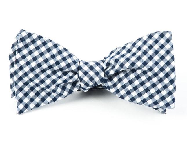 Novel Gingham Navy Bow Tie