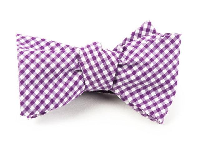 Petite Gingham Plum Bow Tie
