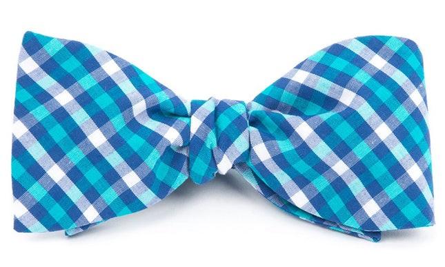 Sound Plaid Turquoise Bow Tie