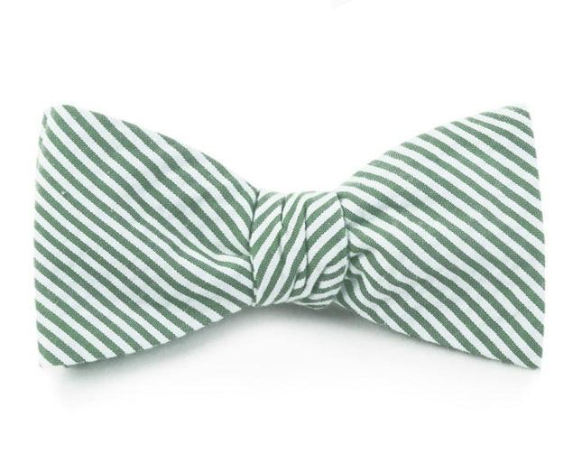 Seersucker Hunter Green Bow Tie