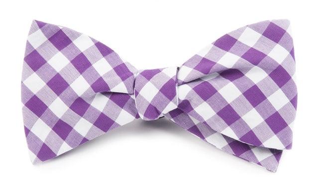 Classic Gingham Purple Bow Tie