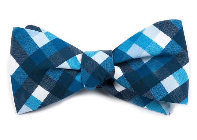 Acoustic Check Blue Bow Tie