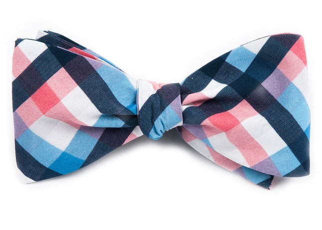 Acoustic Check Pink Bow Tie