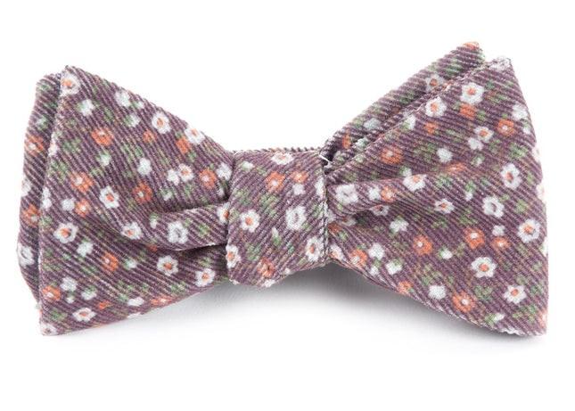 Corduroy Dahlias Brown Bow Tie