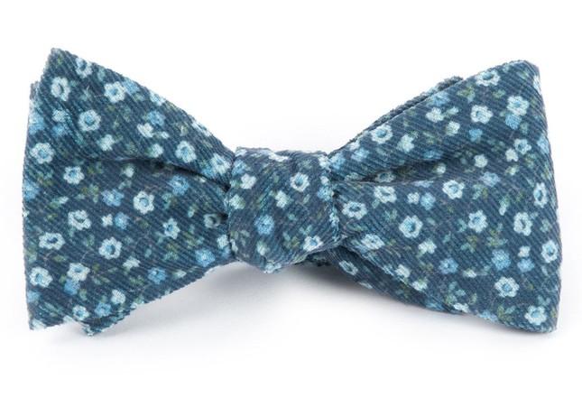 Corduroy Dahlias Navy Bow Tie