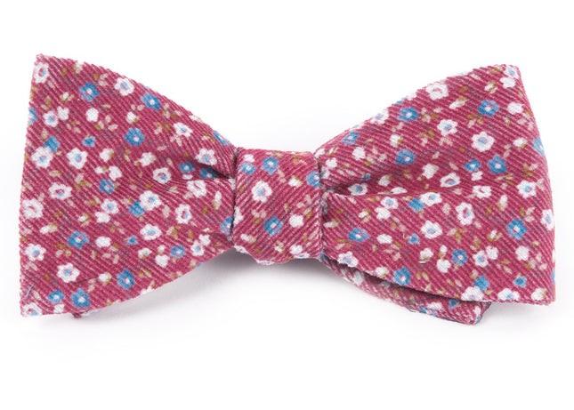 Corduroy Dahlias Red Bow Tie