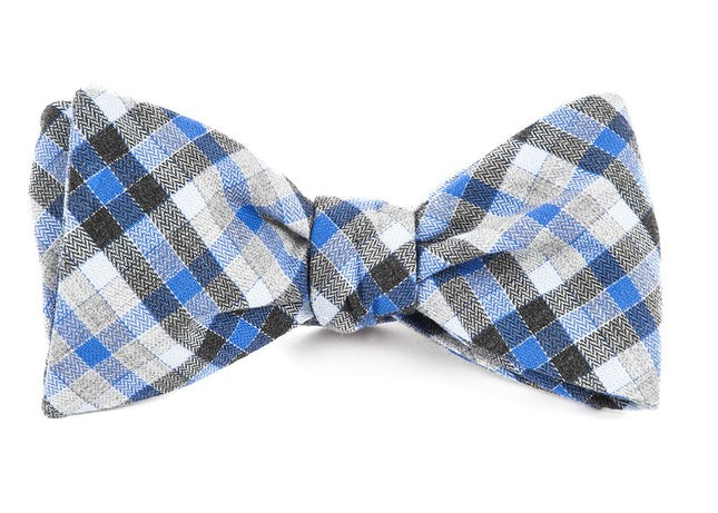 Steel Checks Grey Bow Tie