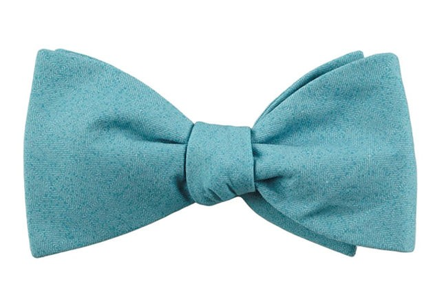 Solid Patrol Washed Teal Bow Tie