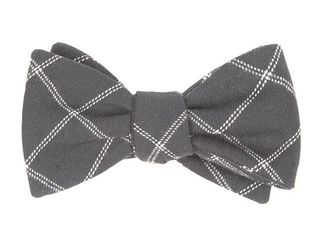 Plaid Graph Grey Bow Tie