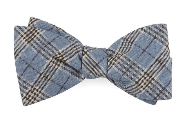 Newton Plaid Powder Blue Bow Tie