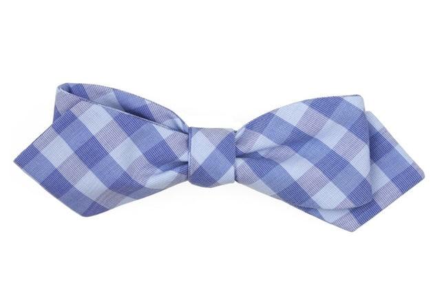 Old City Checks Light Blue Bow Tie