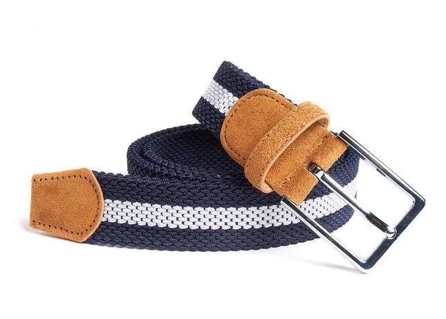 On Your Mark Stripe Navy Belt