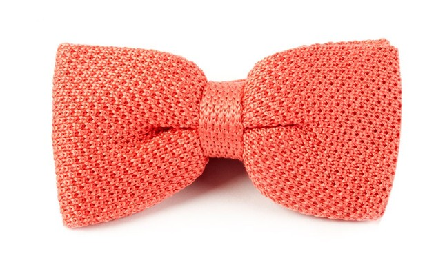 Knitted Coral Bow Tie