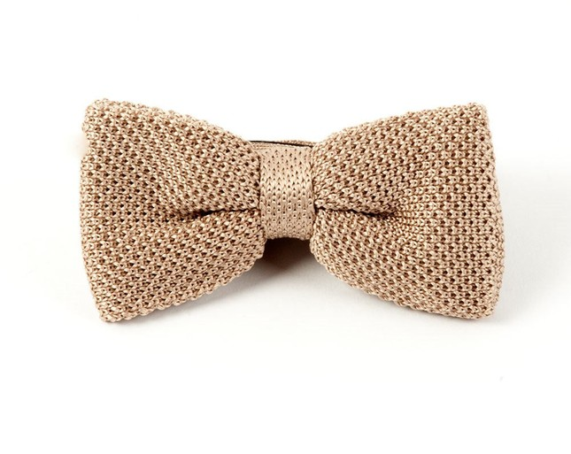 Knitted Light Champagne Bow Tie
