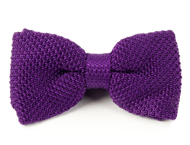 Knitted Plum Bow Tie