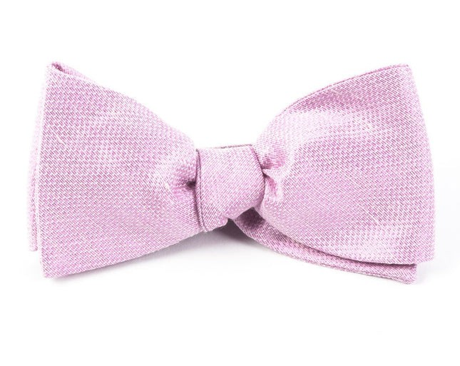 Solid Linen Baby Pink Bow Tie