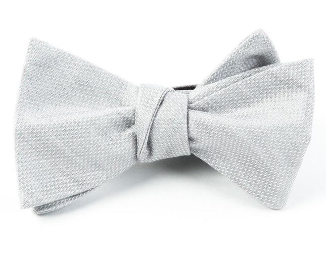 Solid Linen Silver Bow Tie