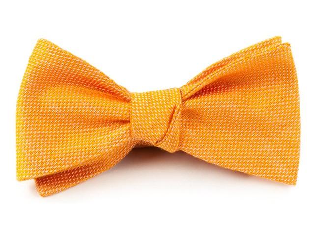 Solid Linen Tangerine Bow Tie