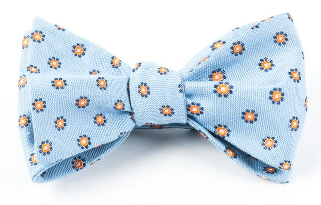 Half Moon Floral Light Blue Bow Tie
