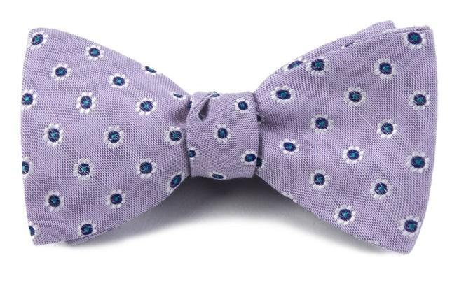 Half Moon Floral Lilac Bow Tie