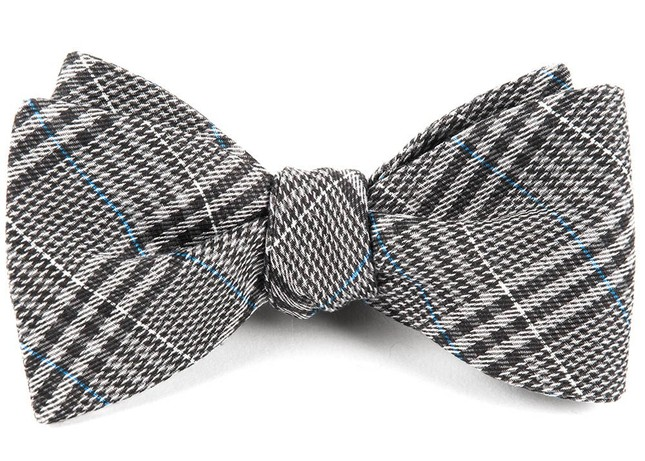 Columbus Plaid Grey Bow Tie