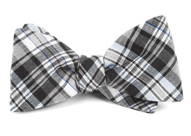 Rnr Plaid Grey Bow Tie