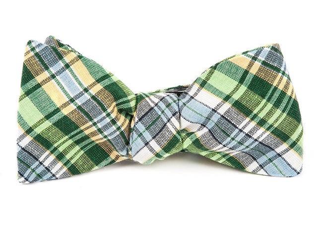 Rnr Plaid Greens Bow Tie