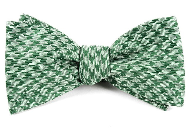 White Wash Houndstooth Moss Green Bow Tie