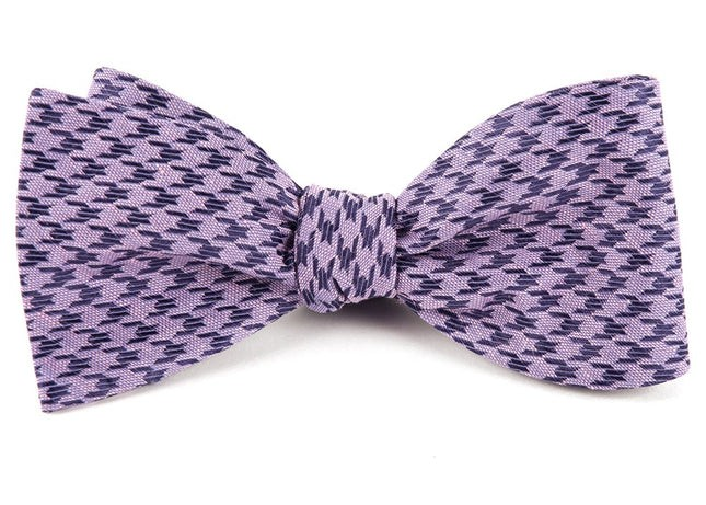 White Wash Houndstooth Lavender Bow Tie