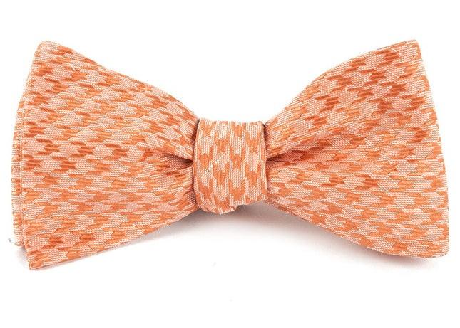 White Wash Houndstooth Orange Bow Tie