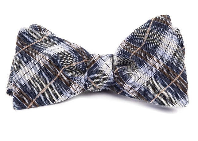 Plaid Outlook Light Blue Bow Tie