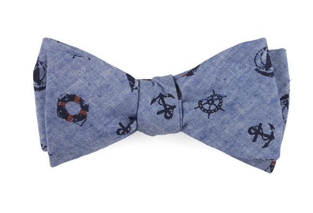 On Deck Warm Blue Bow Tie