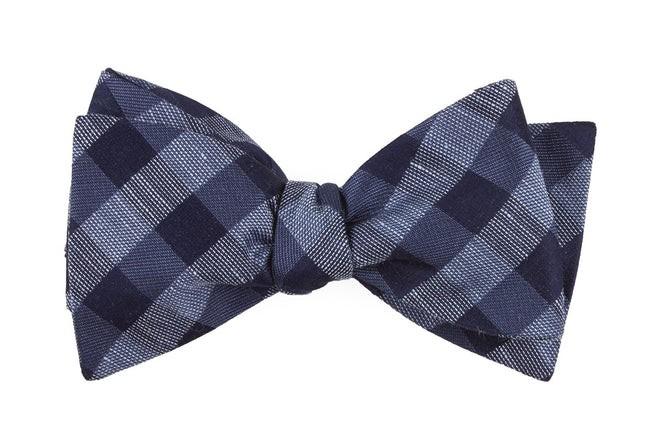 Hale Checks Slate Blue Bow Tie