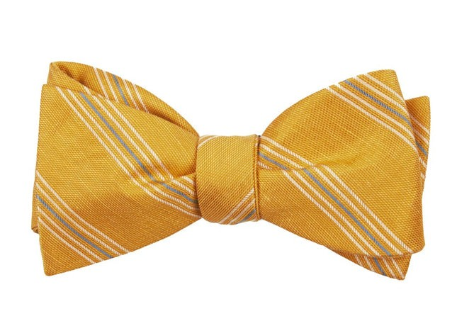 Derby Lane Stripe Mustard Bow Tie