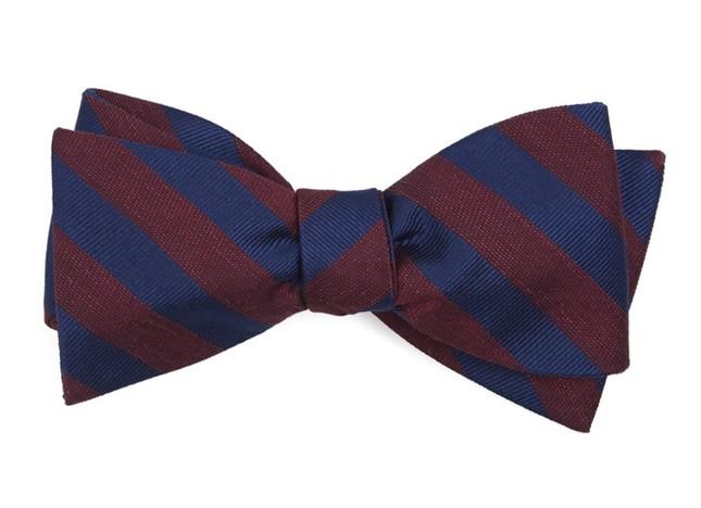 Lumber Stripe Burgundy Bow Tie