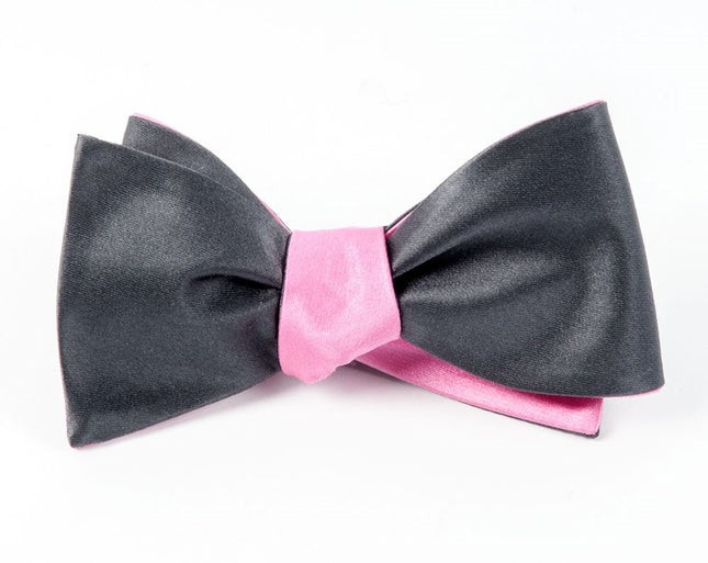 Solid Satin Bright Pink Bow Tie