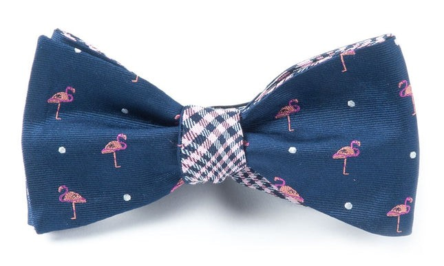 Flamingo Plaid Navy Bow Tie
