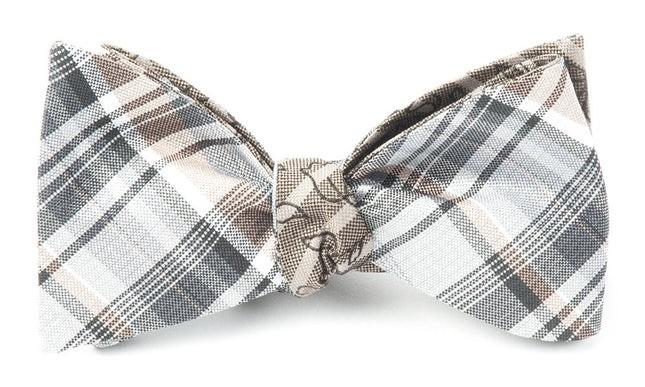 Plaid Cascade Grey Bow Tie