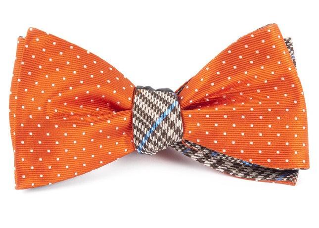 Mini Plaid Orange Bow Tie