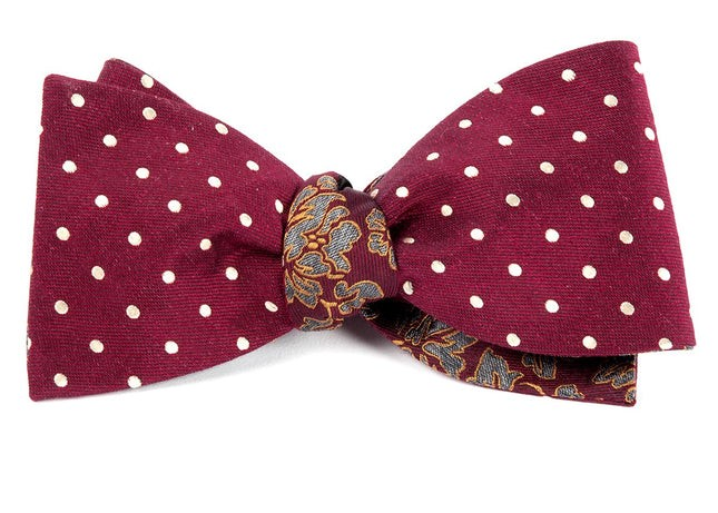 Dotted Paisley Burgundy Bow Tie
