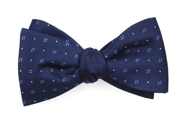 Geo Herringbone Navy Bow Tie