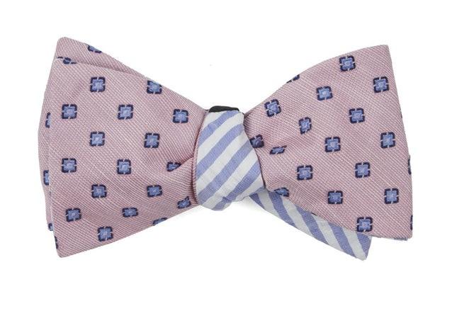 Medallion Seersucker Stripe Baby Pink Bow Tie