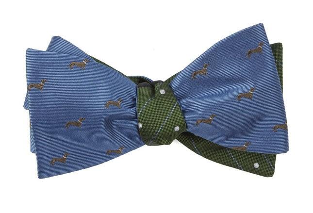 Dog Dots Slate Blue Bow Tie