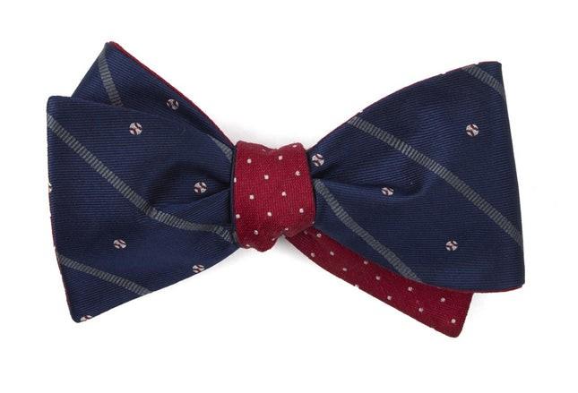Baseball Dots Navy Bow Tie