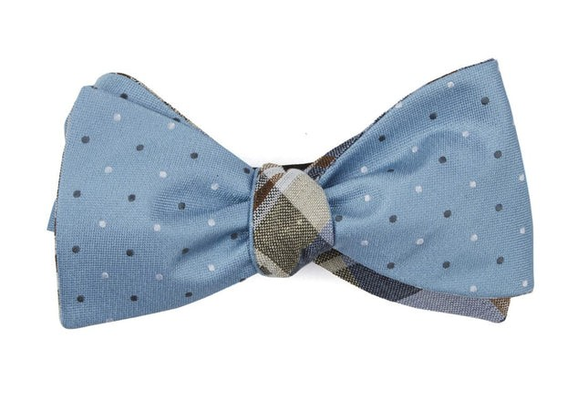 Suited Polka Plaid Steel Blue Bow Tie