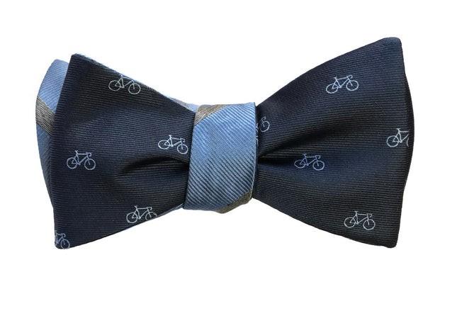 Two-Wheeler Stripe Navy Bow Tie