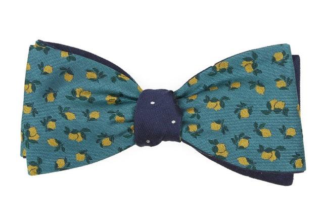 Lemons Dot Green Teal Bow Tie