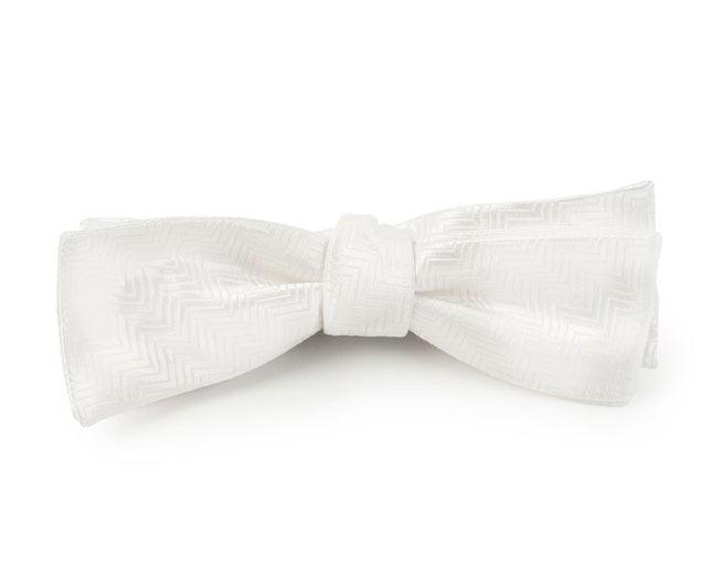 Herringbone White Bow Tie