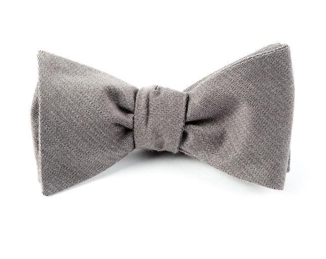 Solid Wool Grey Bow Tie